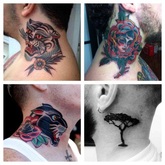 Tatuagem no pescoço masculina