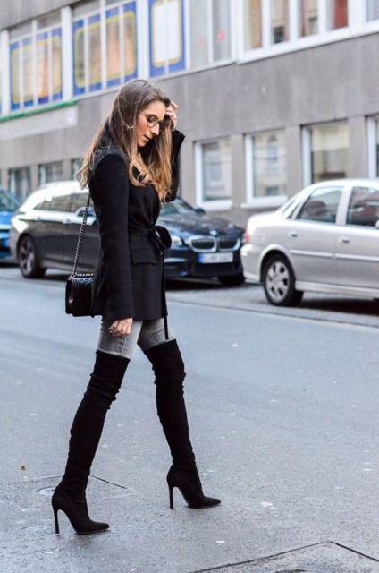 look de inverno com calça jeans