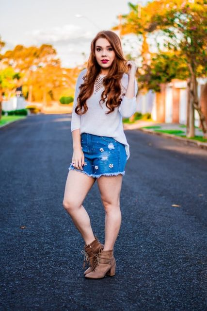 look short jeans com bota