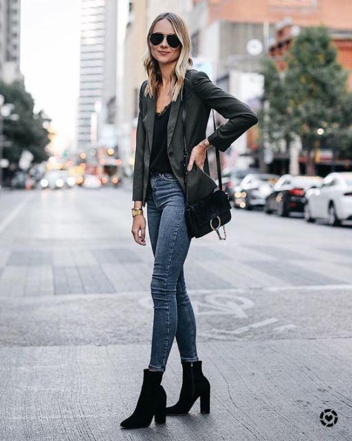 look calça jeans com blazer