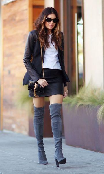 bota cinza com saia