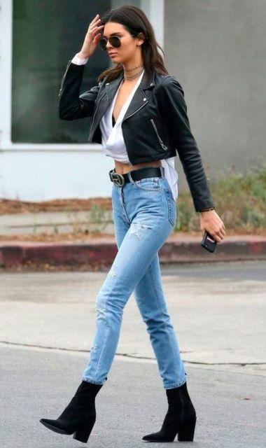 look com calça jeans de cintura alta