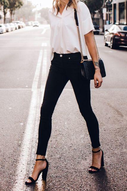 look calça skinny preta