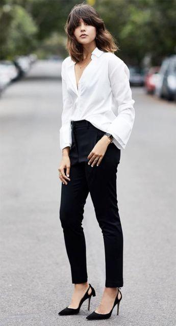 look calça social preta