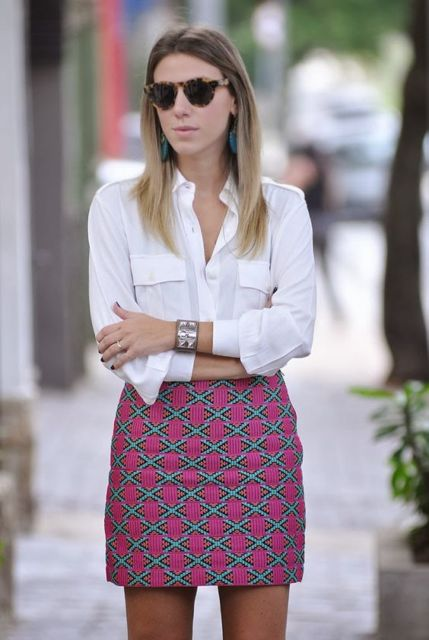 look com saia curta estampada