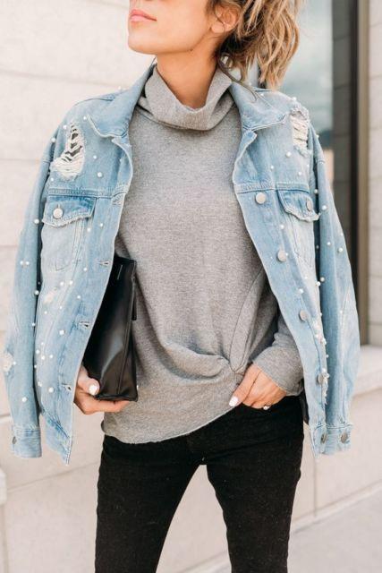 jaqueta com pérolas