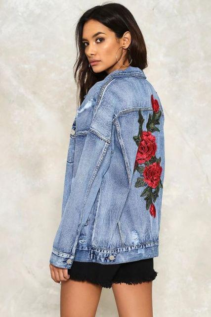 jaqueta com rosas