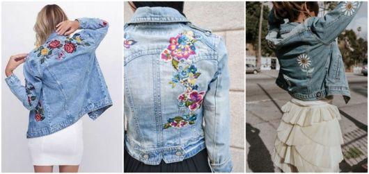 modelos de jaqueta bordada com flores