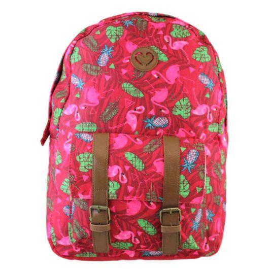 mochila pink com couro