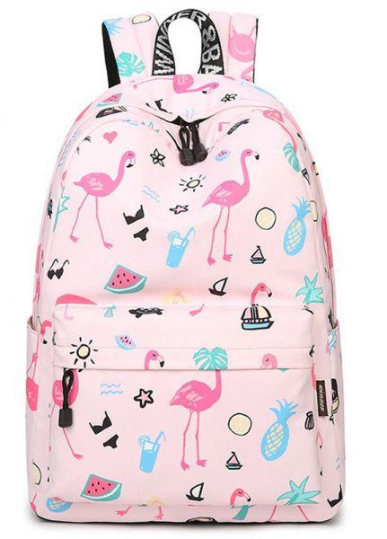 mochila rosa estampada
