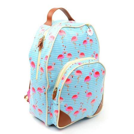 mochila azul com couro