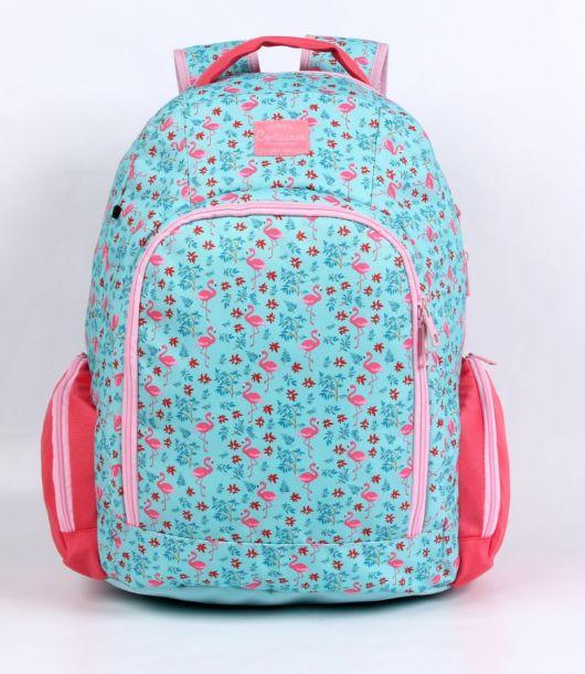 mochila azul estampada