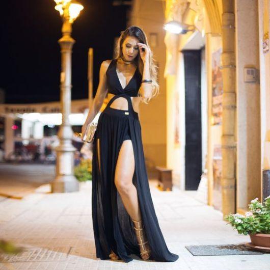 look vestido longo com rasteirinha