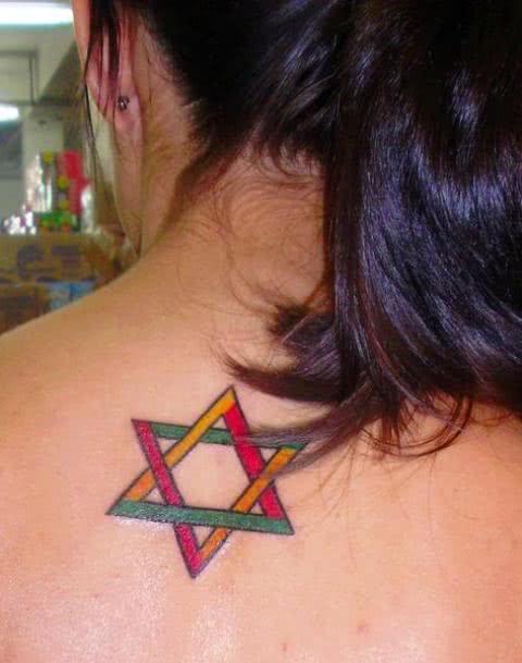 tatuagem Estrela de Davi nas costas