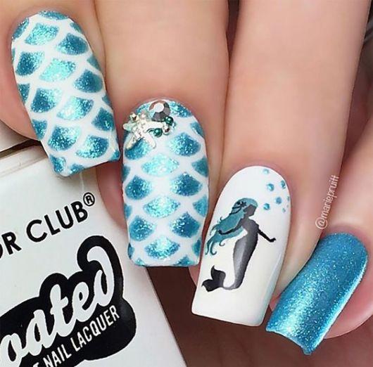 decoração unhas azul
