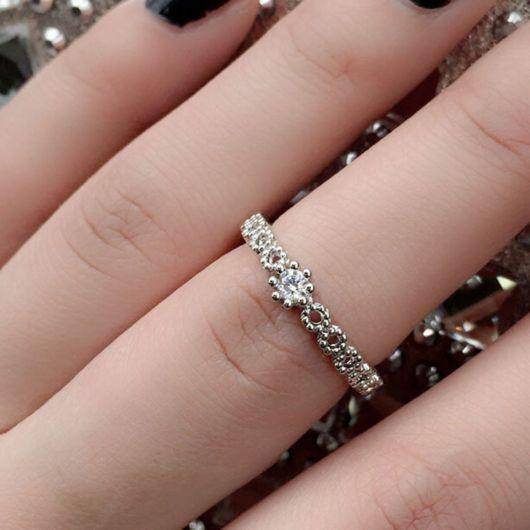 anel trabalhado prata