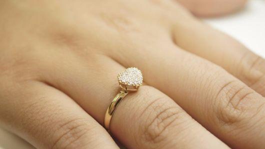 anel chuveiro coração