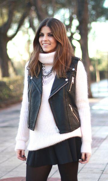 look de inverno com colete preto