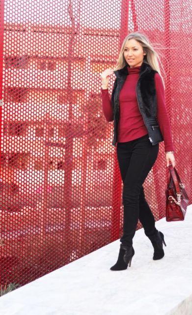 look de inverno preto e vermelho