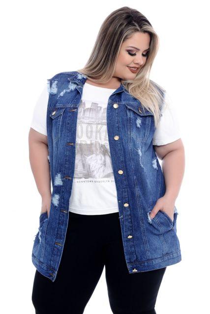 maxi colete plus size jeans