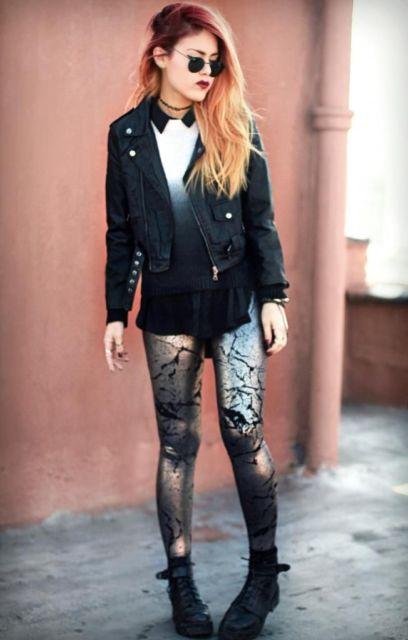 estilo punk com jaqueta jeans