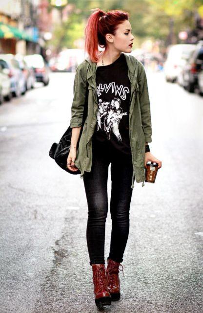 estilo punk com calça comprida