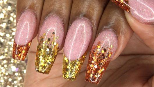 francesinha dourada com glitter de bolinhas