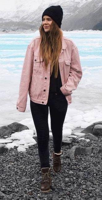 jaqueta rosa jeans da moda inverno