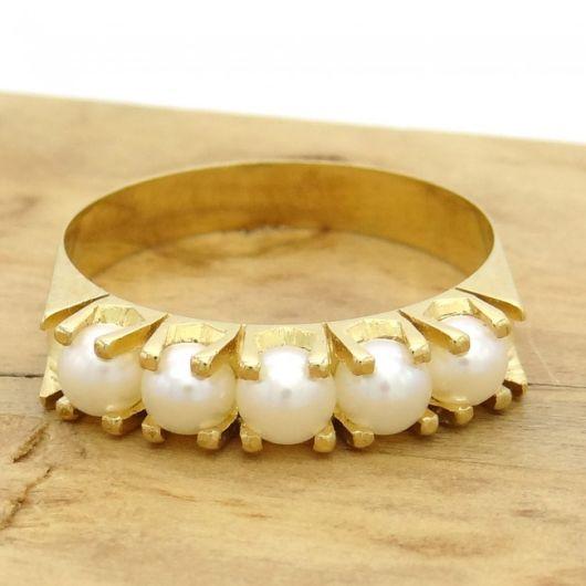 anel ouro amarelo com pérolas