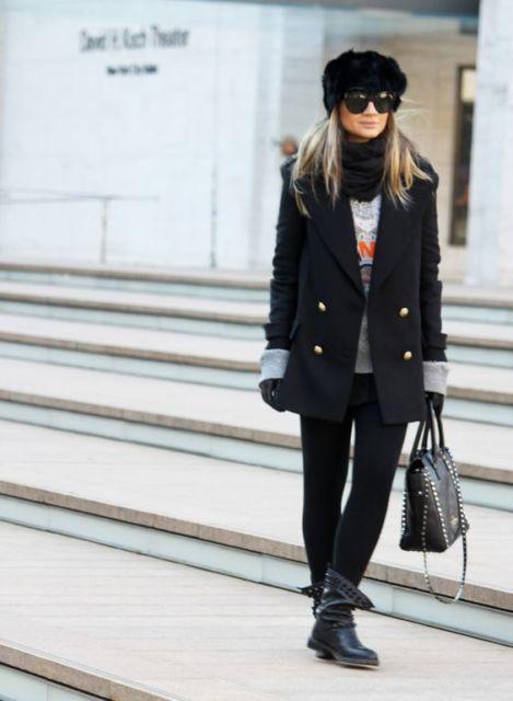 look com casaco de inverno preto