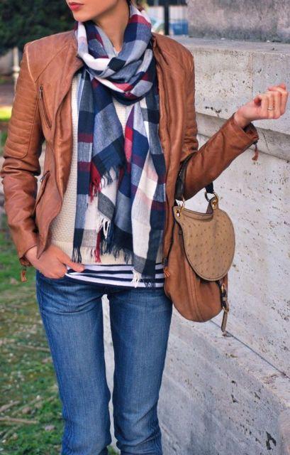 look com jaqueta de couro caramelo