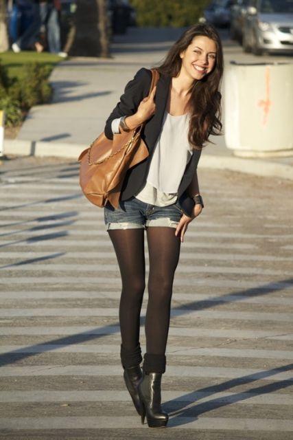 short com meia calça look básico