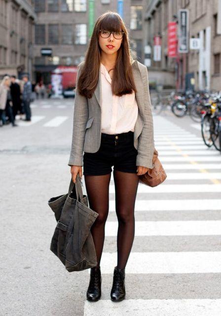 short com meia calça look elegante