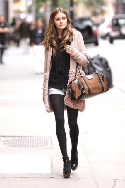 short com meia calça invernal