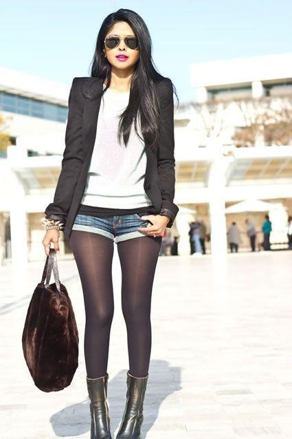 short com meia calça jeans com bota