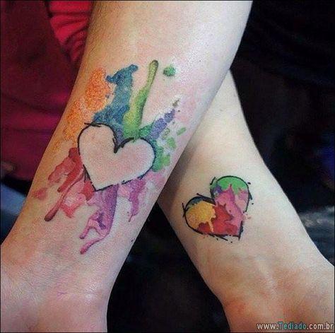 tatuagem coração casal