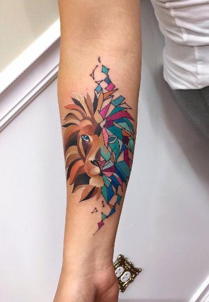 tatuagem moderna leão
