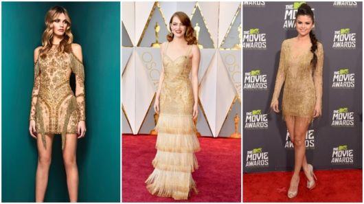 looks com vestido dourado