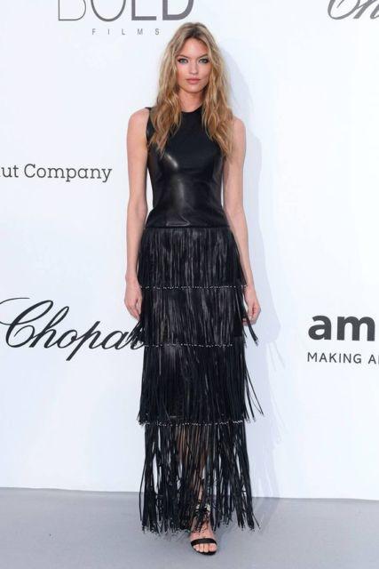 vestido de couro longo