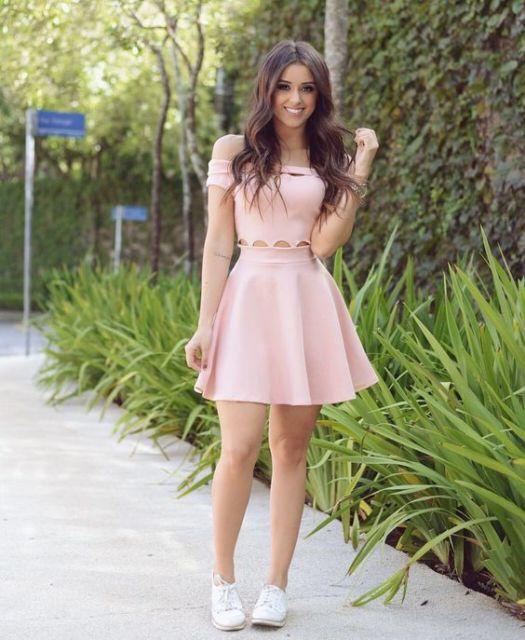 vestido rodado rosa