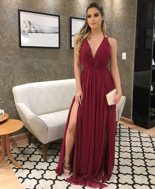 vestido marsala formatura