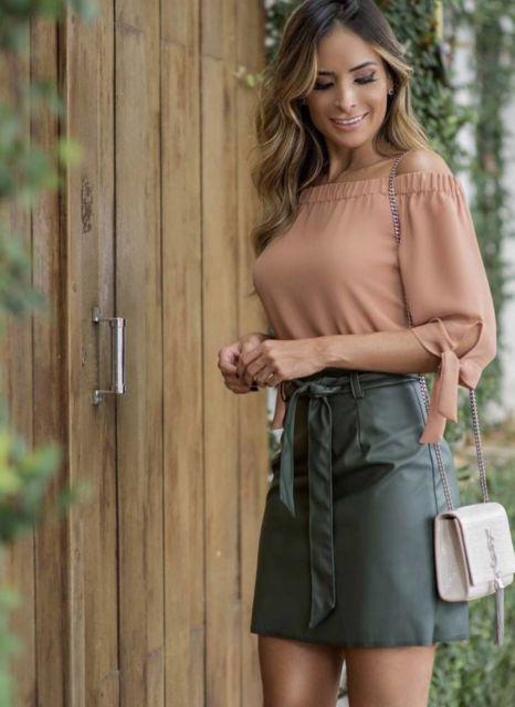 blusa ciganinha manga longa com saia soltinha