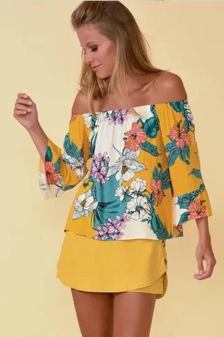 blusa ciganinha manga longa com saia transpassada