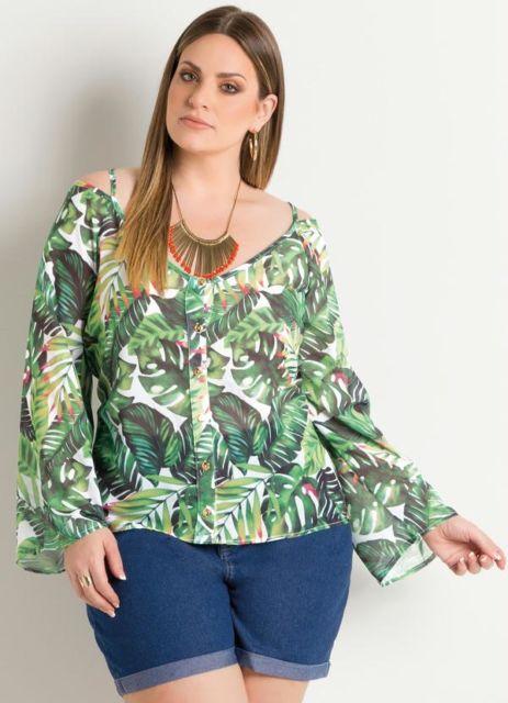 blusa ciganinha manga longa na moda plus size