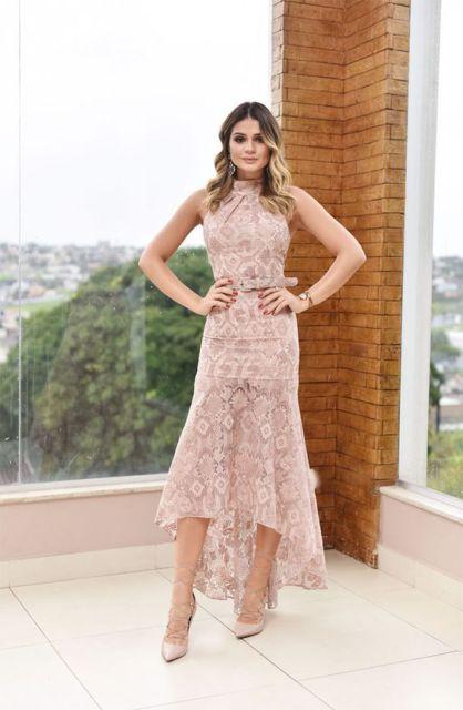 vestido midi rosé