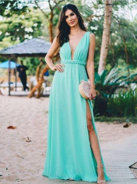 vestido longo casamento na praia