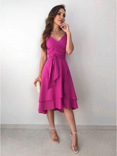 vestido transpassado midi