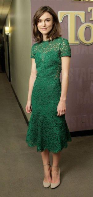 look vestido de renda verde
