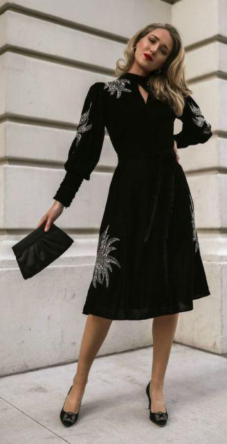vestido de veludo preto