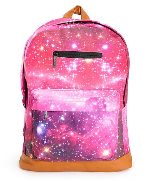 mochila rosa com couro